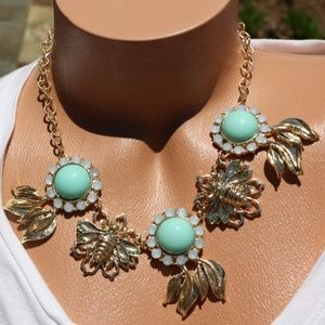 Boho Necklace Turquoise Gold Bling Statement New!